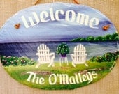 Handpainted Personalized Adirondack Beach Chairs Nautical Oval Slate Welcome Sign