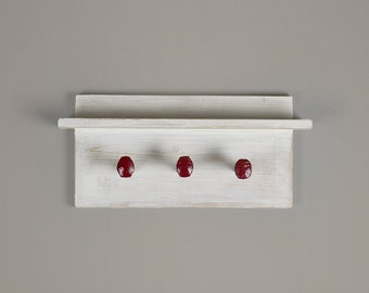"""Farmhouse coat rack with shelf, wall hanger with 3 red painted railroad spike hooks, 18"""" x 8""""  wall hooks"""