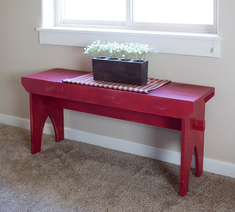 Farmhouse Bench Red Distressed Bench Rustic Country Painted
