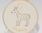 G is for Guanaco alphabet hoop art Embroidery Nursery Art Baby's Room Animals Camel