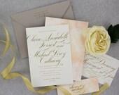 Watercolor Wedding Invitation, Calligraphy Wedding Invitation, Modern Wedding Invitation, Watercolour - Artistic Brush Stroke | Sample Set