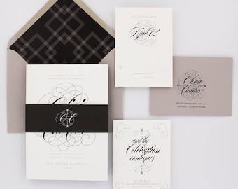 Wedding Invitations, Classic Wedding Invitations, Urban Chic, Black and White, Glam, Plaid - Olivia Wedding Invitation Deposit