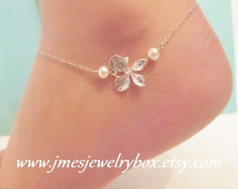 Silver orchid anklet with freshwater pearls
