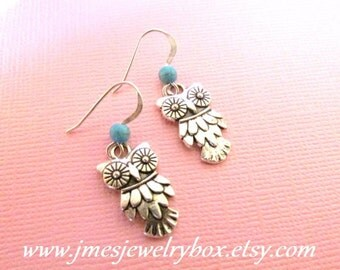 Silver owl earrings with turquoise