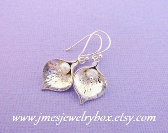 Silver calla lily earrings with freshwater pearls