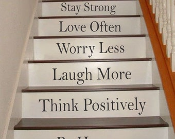Words to Live By Stair Riser Decals, Stair Decals, Stair Stickers, Wall Decals