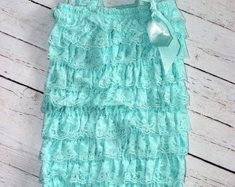 Aqua Romper, Baby romper, lace romper, birthday outfit, Petti romper, infant outfit, shabby chic outfit, Lace dress, Flower girl