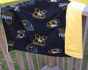 Missouri Tigers fleece/minky blanket