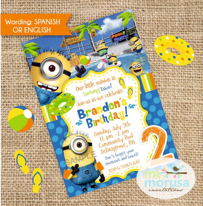 Party Invitations Minions Minions Pool Party Printable