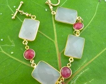 Rose-Colored Glasses: Rose Quartz and Raw Ruby Bracelet