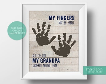 GRANDPA // FATHERS DAY - My Fingers May Be Small, Footprints, Wood // Instant Download