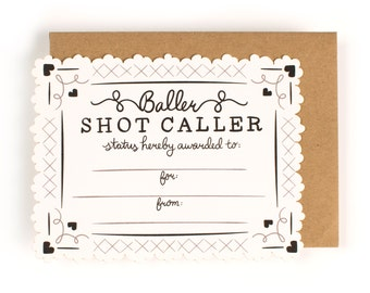 Shot Caller Certificate Card