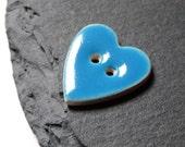 Heart Shaped Blue Ceramic Button