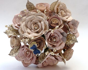 Vintage Paper and Pearl Bouquet