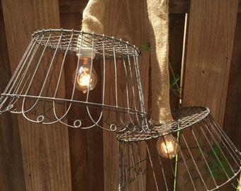 One Wire Basket Hanging Pendant Light
