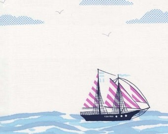 Out to Sea Fabric - Sarah Jane for Michael Miller - Sail Away in Bloom - One Yard