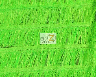 "Stylish Solid Chainette Fringe Dress Fabric - NEON LIME - Sold By The Yard 52""/54"" Width"