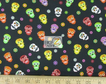 """100% Cotton Fabric - Happy Skulls Toss - 45"""" Wide By The Yard (FH-1766)"""