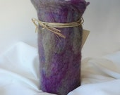 Purple,  Green,  Grey, Felt Vessel Monet Water Lilies Colors, The Monet Vase / Wine Cozy - Felted Wool Decor / Silk with Glass Vase Interior