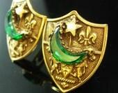 Florenza style Cuff links * gold Medieval Cuff links * Knight Shield * unsigned beauty  fine Jewelry * wedding jewellery * moon rhinestone