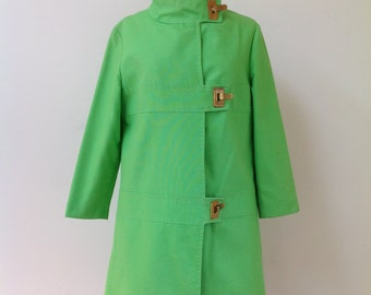 Vintage 1960's MOD Lime Green Trapeze Coat