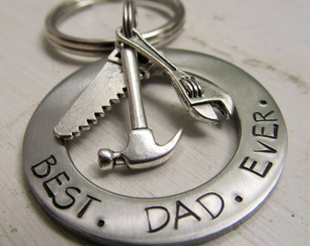 Personalized Father's Day Keychain Fathers Key Ring Hand Stamped Accessories  Dad Key Ring Gift for Him Father's Day Gift Best Dad Ever Gift