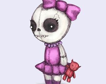 Skull Girl Fine Art Print
