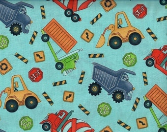Keep on Truckin fabric - construction trucks and road signs  - A.E. Nathan - by the YARD