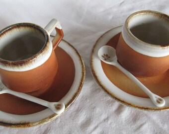 Vintage Japan Studio Pottery Cup Saucer Pair Handmade Earthenware Ceramic