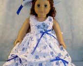 18 Inch Doll Clothes - Blue Floral Eyelet Gown and Hat made by Jane Ellen to fit 18 inch dolls