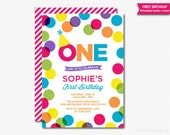 Colorful First Birthday Invitation Polka Dots Girls Birthday Bright Dots Printable Digital Invitation 1st Birthday