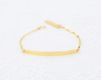 Gold Bar Bracelet dainty Nameplate bar bracelet layering skinny gold filled bar bracelet everyday jewelry.