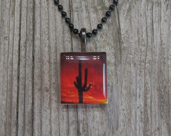Saguaro cactus necklace Scrabble jewelry resin jewelry gift ideas for her under 10 desert