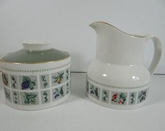 """Vintage Royal Doulton English Bone China Creamer and Sugar Bowl """"Tapestry"""" Pattern - Wedding Bridal"""