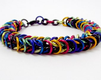 Rainbow Bracelet - Box Chain / Inca Puno Weave Camouflage Chainmaille - Handmade Rainbow Camo Chainmail Bracelet - Gay Pride - LGBT