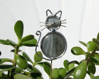 Stained Glass Grey Cat Plant Stake, Garden Art
