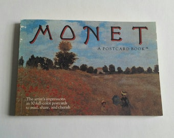 vintage postcard book- book of 30 Monet postcards from the eighties