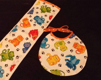 Cats Burp Cloth and Bib Set