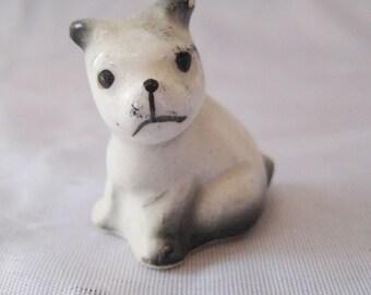 Boston terrier puppy, 50s 60s dog figurine, miniature puppy figurine