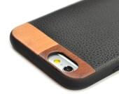 iPhone 6 Plus Leather Case, iPhone 6s Plus Case with Leather, Wood/Leather iPhone 6 Plus Case - LTR-BL-I6P