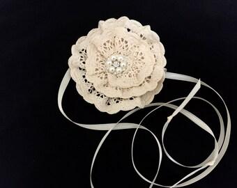 Ivory Crochet Baby Kippah, Jewish Baby Naming Yarmulke