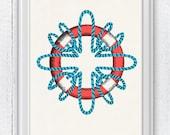 Vintage Lifesaver - Nautical print poster , sea life tools print- Original Illustration print SPN05