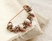 "Copper Shawl Pin ""Mary"", with white and pink ceramic bead, wire wrapped Brooch"