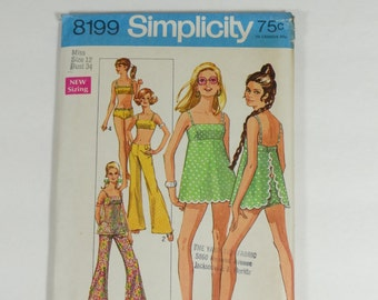 Simplicity 8199 - Vintage 1969 Pattern - Misses Bathing Suit and Hip-Hugger Pants - Size 12