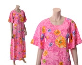 Vintage 70s Mod Pink Floral Caftan Maxi Dress 1970s Two Potato Flower Power Boho Hippie Hawaiian Muumuu Tiki Party Dress