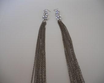 Vintage Rhinestone Chain Earrings 15 in. Long