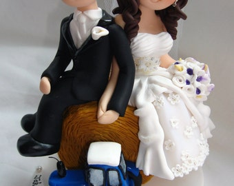 Farm / Barn themed wedding cake topper - bride and groom on hay bale with tractor
