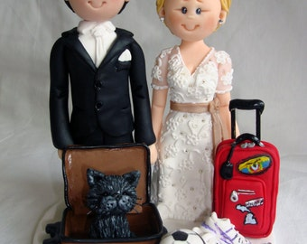 Travel theme holiday wedding cake topper- Custom made bride and groom wedding cake topper