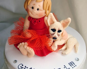 Fully Customised Baby Girl with Pet Chihuahua First Birthday Baby cake topper - Baby Girl Cake Topper