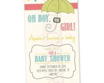 Printable Gender Neutral Baby Shower Invitation - Rain Drops / Sprinkle